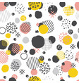 hand drawn seamless pattern with circles dots vector image vector image