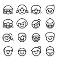 happy face smile face icon set in thin line style vector image vector image