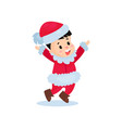 happy little boy in the costume of santa claus vector image vector image