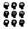 Head brain vecotr icons set vector image vector image