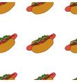 hotdog seamless pattern hand drawn vector image vector image