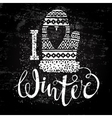 i love winter text and knitted woolen mitten vector image