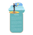 man with throw line and perch or bass fish poster vector image