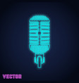 microphone sign neon light design vector image vector image