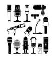 monochrome of microphones vector image vector image