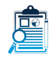 office clipboard report magnifying glass and vector image vector image