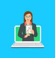 online business school female coach concept vector image vector image