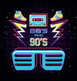 party glasses with icons of eighties and nineties vector image