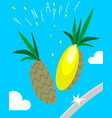 poster with chopped pineapple vector image vector image
