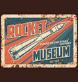 rocket museum rusty plate missile flight vector image vector image