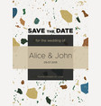 save the date card template with terrazzo marble vector image