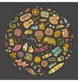 set hippie cartoon doodle objects vector image vector image