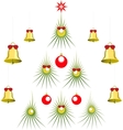 Set of abstract green Christmas tree with balls vector image vector image