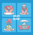 set of donate blood cards vector image