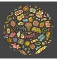 Set of Hippie cartoon doodle objects vector image vector image