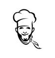 spanish italian chef contour vector image