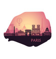 stylized landscape paris in form a map vector image vector image