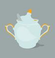 sugar bowl with spoon vector image vector image