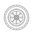 tire wheel symbol in black and white vector image