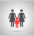 two moms with child silhouette simple black icon vector image
