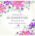 wedding invitation with pink and purple flowers on vector image vector image