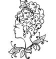 Woman vintage profile vector image vector image