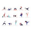 yoga characters people exercise adult woman vector image