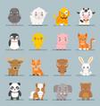 cute baby animals cartoon cubs flat design icons vector image