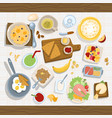 healthy eating meal concept with fresh salad bowls vector image