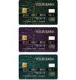 set of 3 credit cardsiv pcb-layout style vector image