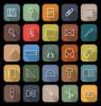 Stationery line flat icons with long shadow vector image