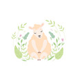 adorable little lamb cute sheep animal sitting on vector image vector image