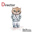 Alphabet professions Owl Letter D - Director vector image vector image