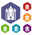 ancient fort icons set hexagon vector image vector image