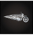 biker theme silver label with wheelbike and wings vector image vector image