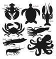 black silhouettes underwater ocean animals vector image