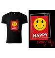 black t-shirt design with smiling emoji vector image vector image