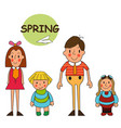 children spring vacation in park spring park vector image vector image