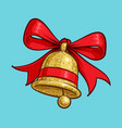 christmas cartoon icon - golden glitter bell vector image vector image