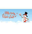 Christmas snowman banner vector image vector image