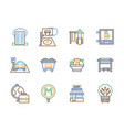 city facilities color line icons set vector image vector image