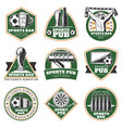 colorful vintage sport pub emblems set vector image vector image