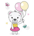 cute bear girl with balloons vector image