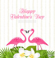 cute card with pink flamingos and green leaves vector image vector image