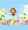 cute fairy flying on flower field vector image