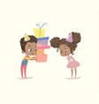 cute kids birthday party present vector image