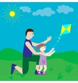 Dad and daughter playing with a kite vector image