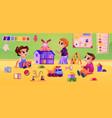 daycare or kindergarten children playing games vector image