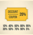 Discount promotion coupon in vintage design Sale vector image