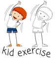 doodle boy character exercise vector image vector image